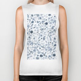 Watercolor florals in blue Biker Tank