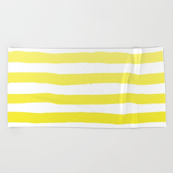 Sun Yellow Handdrawn horizontal Beach Stripes - Mix and Match with Simplicity of Life Beach Towel