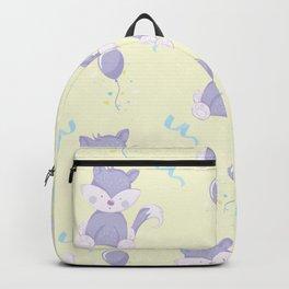 Happy Birthday Purple Fox on Yellow Background Pattern Backpack