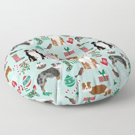 Australian Shepherd christmas festive holiday dog breed gifts for holidays Floor Pillow