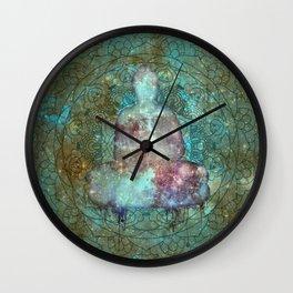 Watercolor Mandala Buddha in Galaxy Wall Clock
