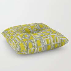 picture frames aplenty indigo chartreuse Floor Pillow