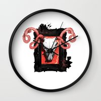 vegetarian Wall Clocks featuring VEGETARIAN PAINTING by 13 DESIGN