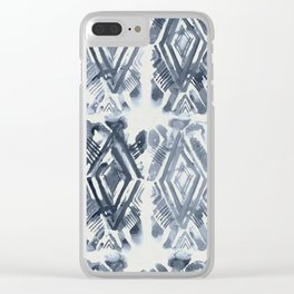 Simply Ikat Ink in Indigo Blue on Lunar Gray Clear iPhone Case