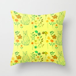 Cat in the garden - Pattern Throw Pillow