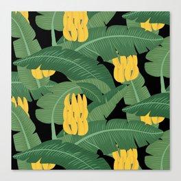 Bananas and Leaves - Bg Black Canvas Print