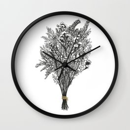 Dry Bouquet with Gold String Wall Clock