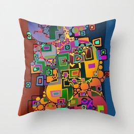 Cubism Modern Art - Dancing In The City 1 Throw Pillow