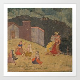 Radha and Krishna Caught in a Storm - 17th Century Classical Hindu Art Art Print