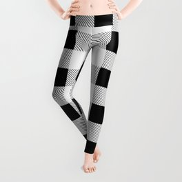 western country french farmhouse black and white plaid tartan gingham print Leggings
