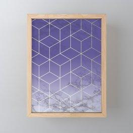 Geometric Marble Ultraviolet Purple Gold Framed Mini Art Print