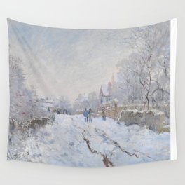 Snow Scene at Argenteuil by Claude Monet Wall Tapestry