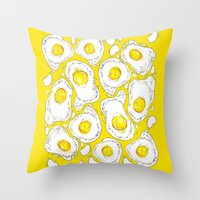 eggs Throw Pillows featuring eggs by AnnaToman