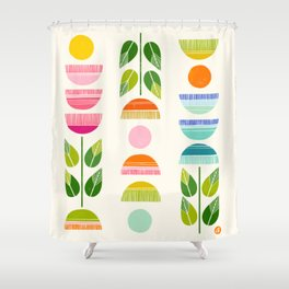 Sugar Blooms - Abstract Retro Inspired Design Shower Curtain