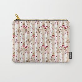 Pattern red wild berries branch texture striped background Carry-All Pouch