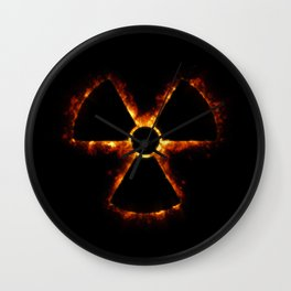 Nuclear Icon in Fire Wall Clock