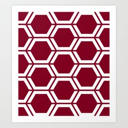 Oxblood - purple - Geometric Polygon Pattern Art Print