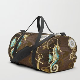 Wooden Background with Mechanical Seahorse ( Steampunk ) Duffle Bag