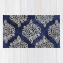 Cream Floral Moroccan Pattern on Deep Indigo Ink by micklyn
