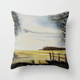 The field of horses Throw Pillow