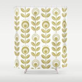 SCANDI GARDEN 01-2, mustard yellow on white Shower Curtain