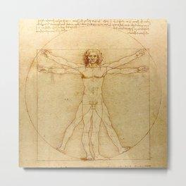 Le proporzioni del corpo umano secondo Vitruvio, Leonardo da Vinci, 1490 Metal Print