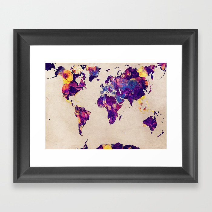 world map 20 #map #world Framed Art Print