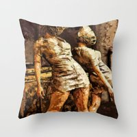 silent hill Throw Pillows featuring Deadly Duo Silent Hill Nurses by Joe Misrasi
