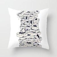 meat Throw Pillows featuring mass meat by Emek Haikel