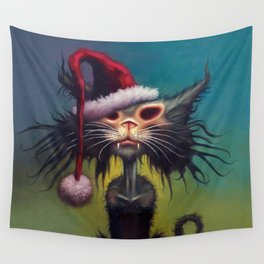 Zombie Cat Christmas Wall Tapestry