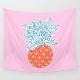 Flower Vase on Pink Wall Tapestry