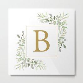 Gold Letter B Monogram Watercolor Greenery Metal Print