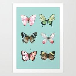 Watercolor Butterflies on Aqua Art Print