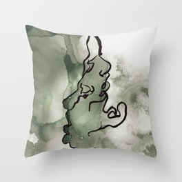 line water color faces Throw Pillow