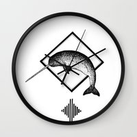 narwhal Wall Clocks featuring Narwhal by Destiny Von Brandt