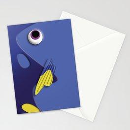 Blue ornamental fish cartoons Stationery Cards
