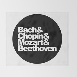 Bach and Chopin and Mozart and Beethoven, sticker, circle, black Throw Blanket