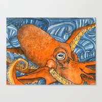 kraken Canvas Prints featuring Kraken by Amy Nickerson