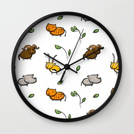Cute african animals pattern, rhino, leopard, gazelle, wildbeest Wall Clock