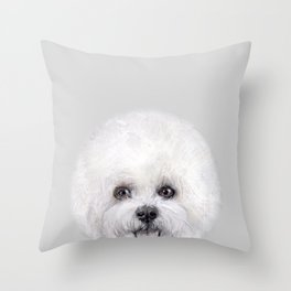 Bichon illustration, Dog illustration original painting print Throw Pillow