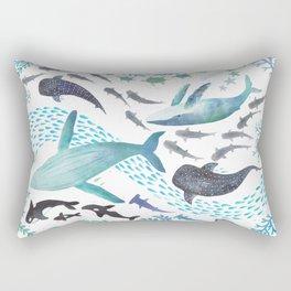Sharks, Humpback Whales, Orcas & Turtles Ocean Play Print Rectangular Pillow