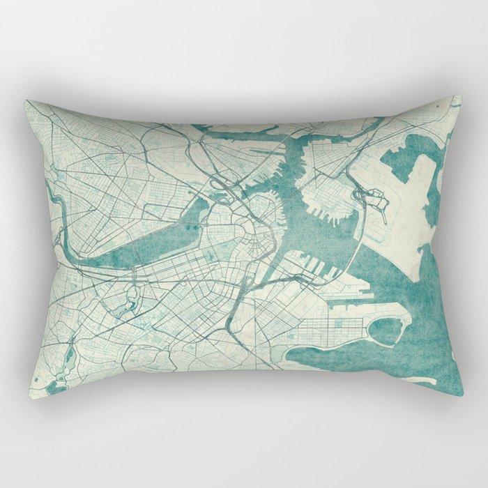 Boston Map Blue Vintage Rectangular Pillow
