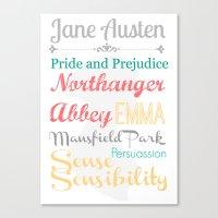 jane austen Canvas Prints featuring Jane Austen Novels Illustration by A Novel Gift