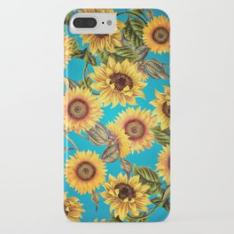 Vintage & Shabby Chic - Sunflowers on Teal iPhone Case