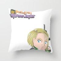 valentina Throw Pillows featuring Lola Valentina placing mines by PocketBrawlers