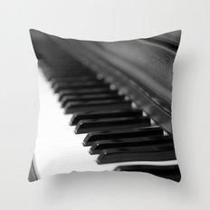 Piano - Black and White Throw Pillow