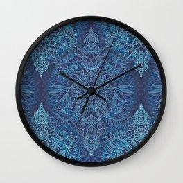 Aqua, Cobalt Blue & Purple Protea Doodle Pattern Wall Clock