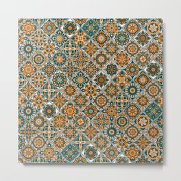 Vintage Mosaic Mandala Pattern Metal Print