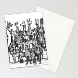 A Crowd of Llamas in Pajamas by dotsofpaint Stationery Cards