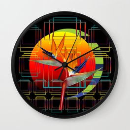 Bird of Paradise flower by sunset Wall Clock